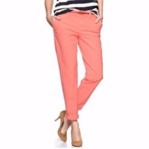 GAP Broken In Straight Coral/Orange Khakis